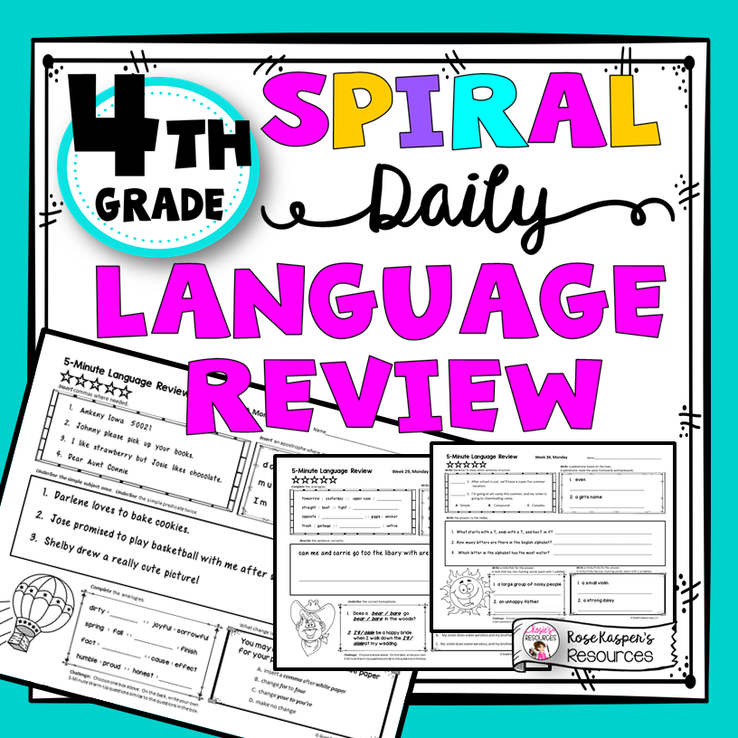 Daily Spiral Language Reviews Available for Grades 2nd – 5th