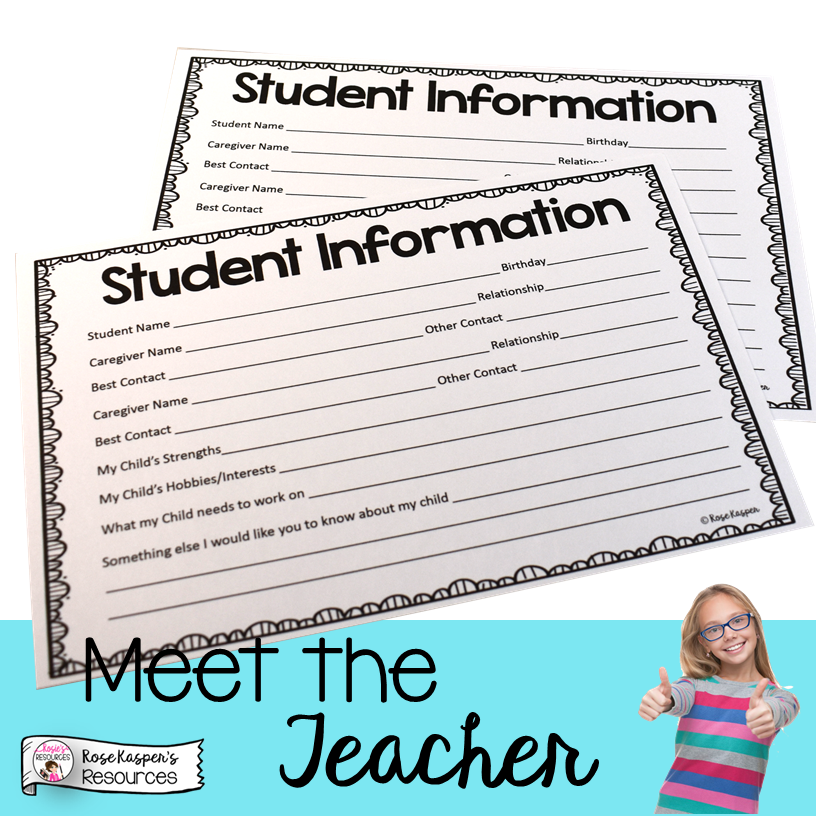 Meet the Teacher Student Information Form